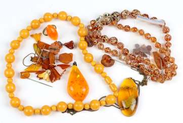 Item of amber jewelry among others