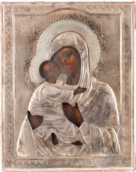 SMALL ICON OF MOTHER OF GOD OF VLADIMIR (VLADIMIRSKAYA) WITH SILVER OKLAD