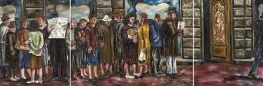 NESTEROVA, NATALIA (B. 1944) A Queue, triptych , each part signed, titled in Cyrillic and dated 1986, and the left and right parts inscribed