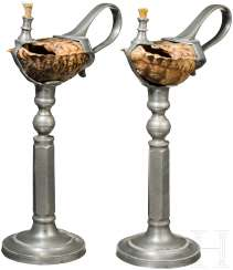 A Pair of oil Lamps with bowls made of turtle shell, German, mid-19th century. Century