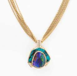 Boudleropal-turquoise-and-diamond pendant with chain