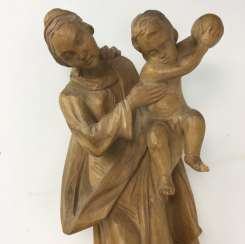 Mary / mother of God with infant Christ as Pantokrator, Linden wood