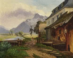 HOMESTEAD on the Creek , Fischbach, Johann, 1797, Schloss Grafenegg b. Krems - 1871 Munich
