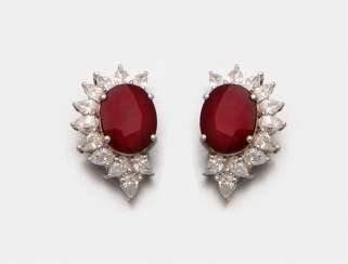 Pair of very fine Mozambique ruby earrings