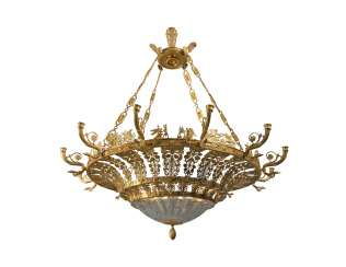 A MONUMENTAL NORTH EUROPEAN ORMOLU TWELVE-LIGHT CHANDELIER