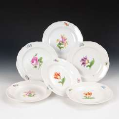 6 plates with flower painting, MEISSEN.