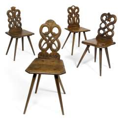 Four Board Chairs. 18./19. Century