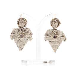 Pair of rare Bridal earrings with seed beads
