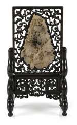 Filigree crafted table control screen made of wood with Jadeplakette