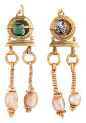 Pair of gold earrings with glass beads and mother-of-pearl