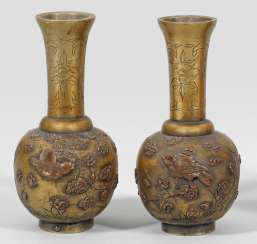 Pair of small Japanese ornamental vases