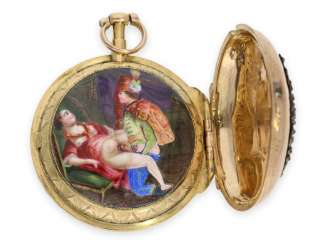 Pocket watch: a rarity, exceptionally early golden spindle watch with hidden erotic enamel painting, No.1533, France approx. 1780