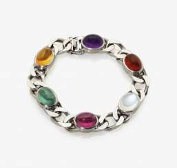 Tank bracelet with tourmalines, Amethyst and moon stone