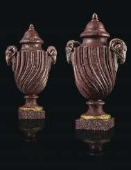 A PAIR OF LATE LOUIS XV ORMOLU-MOUNTED PORPHYRY VASES AND CO...