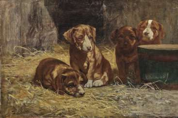 John Henry Dolph - Four Dog Puppies