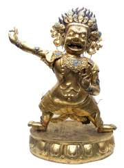 Big fire-gilded repoussé technology-figure of the Dharmapala