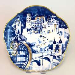 Institutional / wall plate: Meissen porcelain, view of Heidelberg, Gold-adorned, very good.