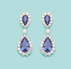 Pair of gorgeous sapphire and diamond drop earrings