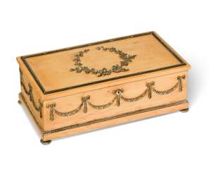 A SILVER-GILT MOUNTED HOLLY WOOD BOX