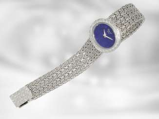 Watch: rare Chopard Design watch with lapis lazuli dial, Ref. 5036-1, a rarity from the 1970s/80s, solid made in 18K white gold