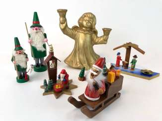 Great Post Christmas Figurines: Angel, Nativity, Smoking Man, Christmas Men. The Ore Mountains, Handmade.