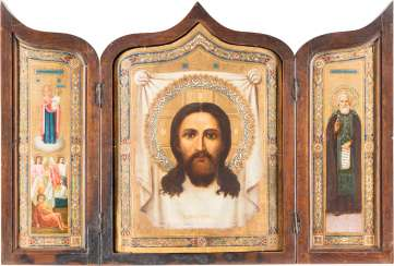 GIFT OF 35. INFANTRY REGIMENT OF THE BRYANSK REGION: THIS LARGE-FORMAT TRIPTYCH WITH THE MANDYLION, THE MOTHER OF GOD 'JOY OF ALL THE SUFFERING', AND TO THE HOLY SERGEI OF RADONEZH