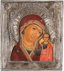ICON OF THE MOTHER OF GOD OF KAZAN (KASANKSAJA) WITH SILVER RIZA