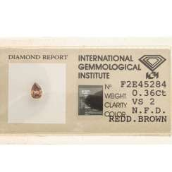 Loser Diamant Fancy Deep Reddish Brown, 0.36 ct,
