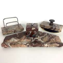 Desk set: tray with inkwell and holder and letter rack. Marble.