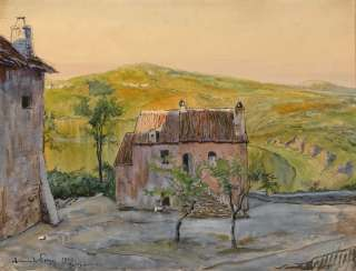 BENOIS, ALEXANDER (1870–1960). Landscape with a Pink House in Genzano, Italy