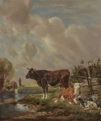 Johann Friedrich Voltz - Cows and Goats on the Water