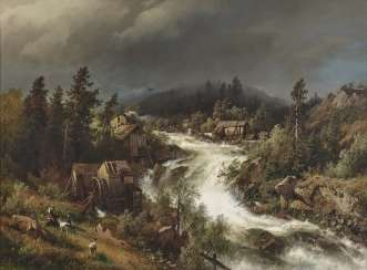Hermann Herzog - Norwegian waterfall