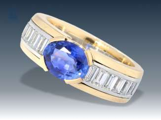 Ring: modern, formerly very expensive diamond/sapphire gold forged ring, 18K gold/platinum, new price approx. 7500€