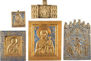 FIVE BRONZE ICONS WITH DEPICTIONS OF THE MOTHER OF GOD