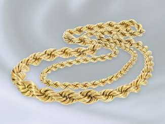 Necklace/Collier: exceptionally long, endless vintage cord necklace, handmade, 18K Gold