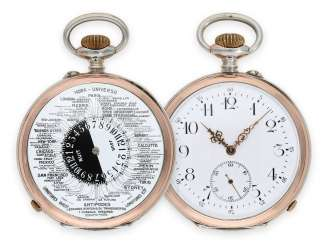 Pocket watch: extremely rare, double-sided, world time pocket watch with day/night indicator,