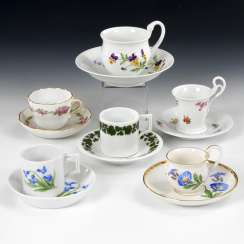 5 mocha cups and Swan handle Cup, MEISSEN