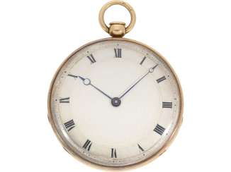 Pocket watch: very fine red-gold Lepine with ruby cylinder Breguet and Repetition, signed Petit a Paris No. 3479/981, CA. 1810