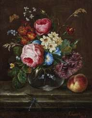 Floral still life with a peach and a dragonfly