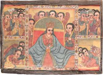MONUMENTAL COPTIC ICON WITH THE WORSHIP OF THE MOTHER OF GOD