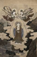 Large devotional image with an image of Guanyin pusa under two Asparas