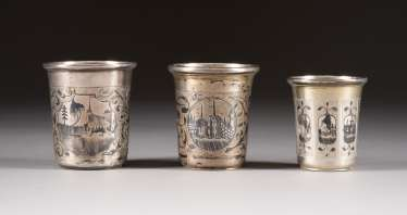 THREE VINTAGE SIAM STERLING SILVER CUP