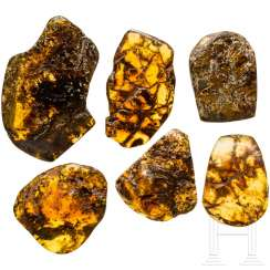 Six pieces of natural amber