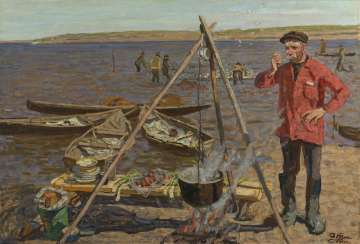 TKACHEV, SERGEI and TKACHEV, ALEKSEI (B. 1922 and B. 1925) Fisherman's Soup , signed, also further signed, titled in Cyrillic and dated 2001 on the reverse.