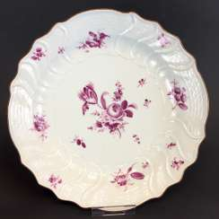 Large plate / large bowl: Meissen porcelain. German flower in purple. New Fire Stone. In 1740!