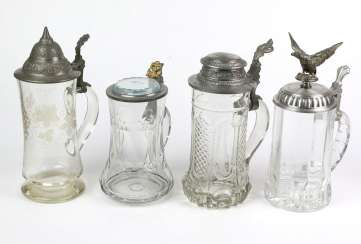 4 beer steins with lid 1880 u. sp.