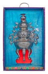 Silver incense burner with dragon decor