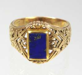 Lapis Lazuli Man's Ring - Yellow Gold 585