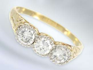 Ring: beautiful, hand-crafted in brilliant gold wrought ring, approx 0.72 ct, antique, probably around 1910