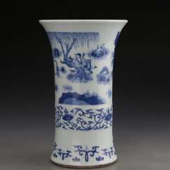 Qing Dynasty Kangxi Character Story Blue and White Porcelain Bottle